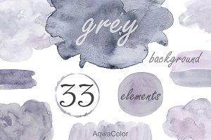 Watercolor clipart background Grey