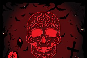 Skull Happy Halloween red