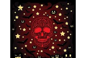 Happy Halloween skull and stars