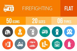 50 Firefighting Flat Round Icons