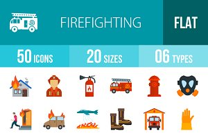 50 Firefighting Flat Icons
