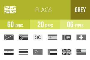 60 Flags Greyscale Icons