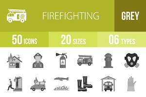 50 Firefighting Greyscale Icons