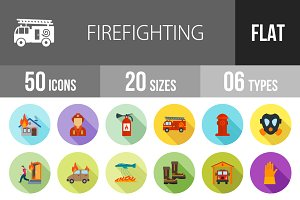 50 Firefighting Flat Shadowed Icons