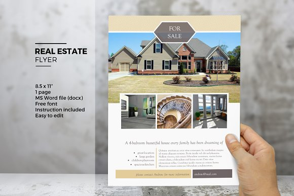 MS Word Real Estate Flyer Template Flyer Templates Creative Market - Real estate brochure templates