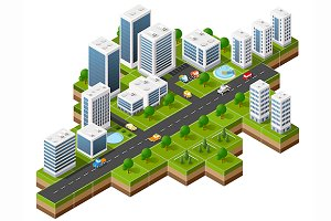 Flat 3d isometric  city