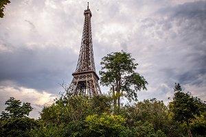 Eiffel tower against twilight sky