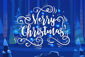 Merry Christmas and forest backgroun