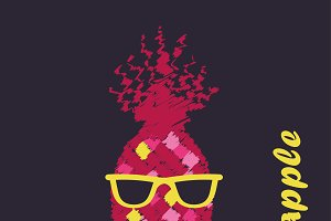 Poster Pineapple with glasses.
