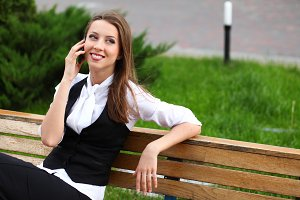 businesswoman calling by cellphone