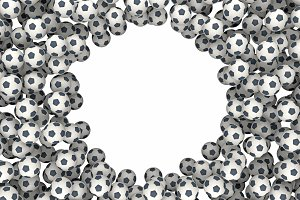 background of soccer balls 3d rendering