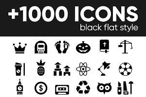 +1000 BLACK GLYPH FLAT ICONS