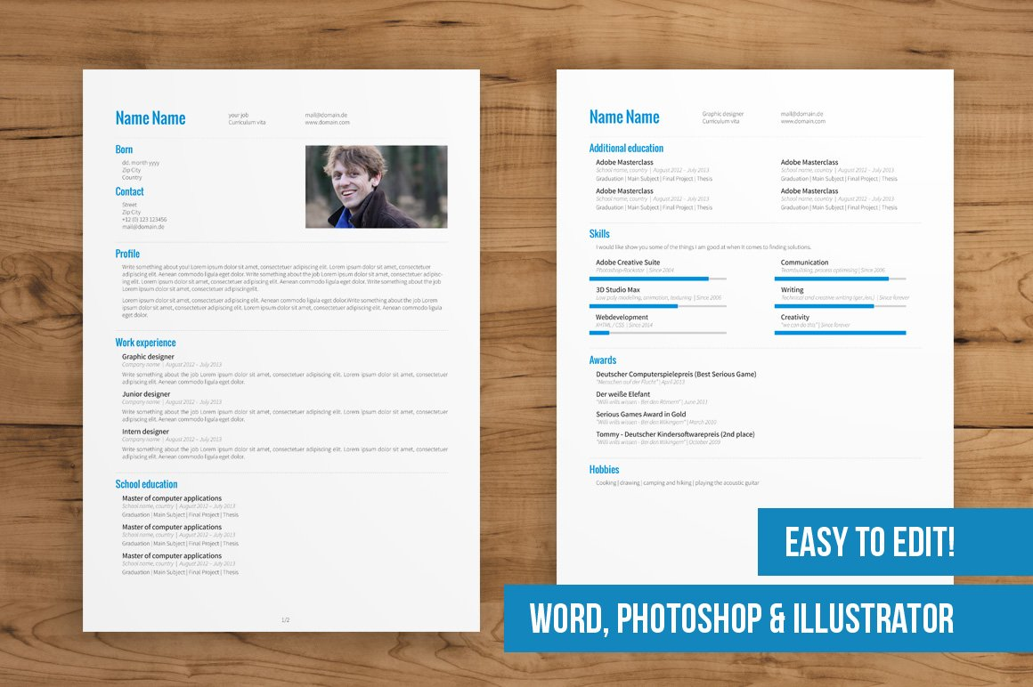 2 page cv template easy to edit resume templates creative market - 2 Page Resume