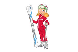 Beautiful girl in helmet with mountain ski. Sport