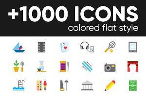 +1000 COLORED FLAT ICONS