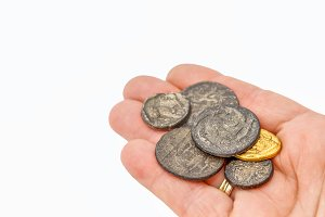 Handful of old roman coins