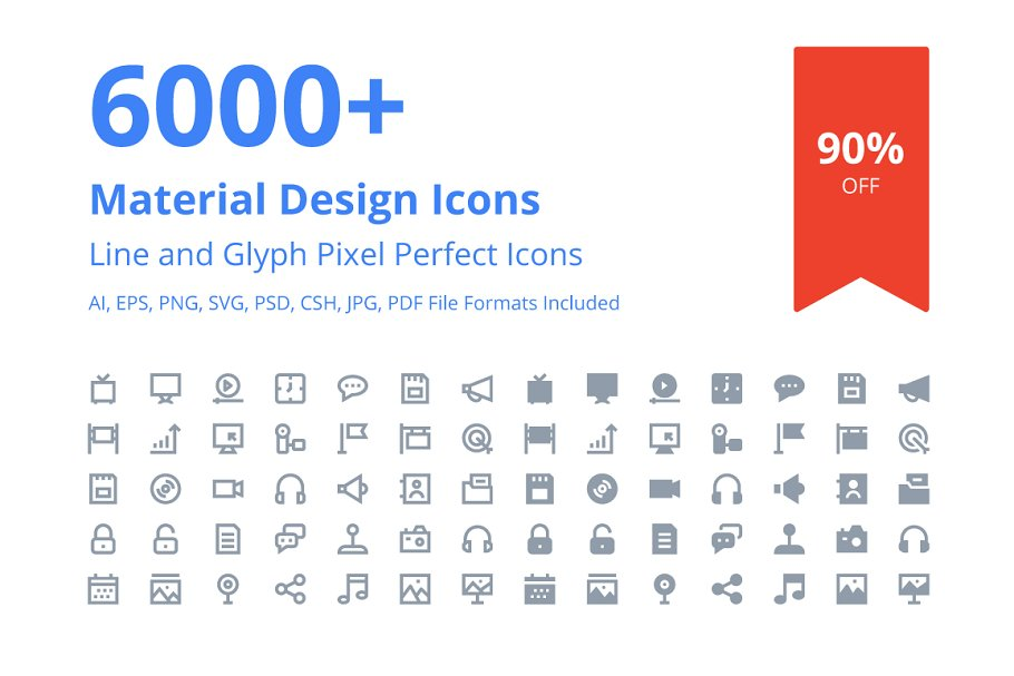 6000+ Material Design Icons ~ Icons ~ Creative Market