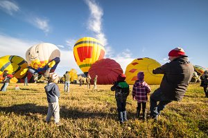 Children watch Hot Air Balloons