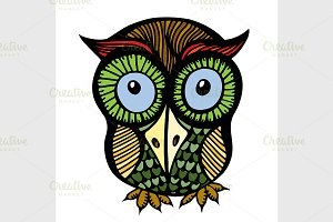 Color owl graphic