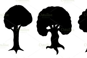 various of vector tree silhouettes