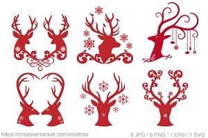 Christmas deer, reindeer, antlers