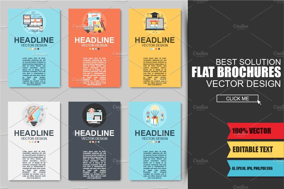 flat business brochures brochure templates creative market