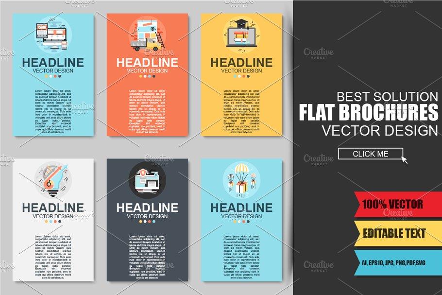 Flat Business Brochures Brochure Templates Creative Market Pro