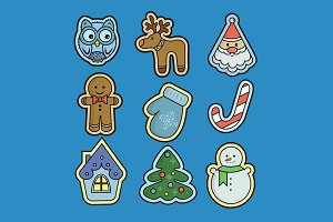 Winter holidays vector icons
