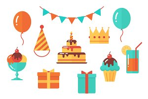 Birthday Vector Flat Clip Art