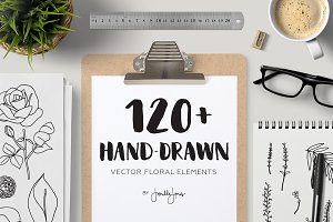 120+ Hand Drawn Vector Florals