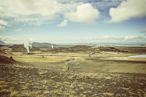 Geothermal landscape with industry