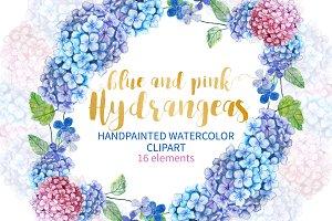 Watercolor Hydrangea Clip Art Floral