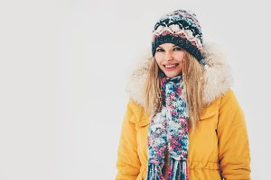 Winter Woman happy smiling outdoor