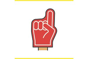 Foam finger color icon. Vector