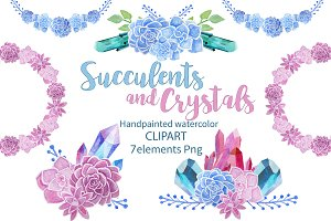 Succulents and Crystals Watercolor
