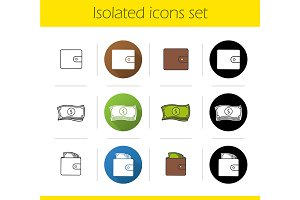 Money. 12 icons. Vector
