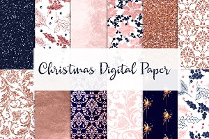 Digital paper navy, pink, rose gold