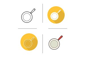 Frying pan. 4 icons. Vector
