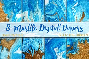 Marble Gold Blue background