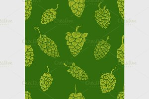 pattern with green hops