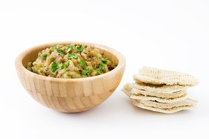 Eggplant baba ganoush and pita bread