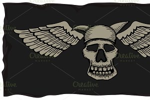 skulls with wings.