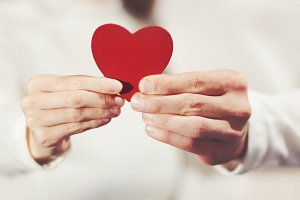 Couple holding Heart love symbol