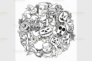 Halloween round illustration.