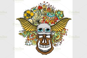 Human skull with flowers