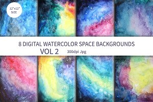 Watercolor Space background Vol.2