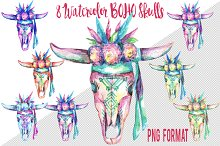 BOHO Cow Skull watercolor set PNGs