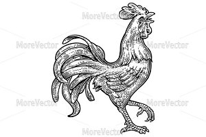 Rooster. Vintage mono engraving