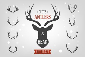 Deer's head and antlers set.