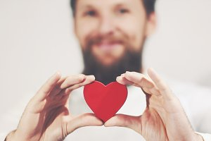 Bearded man Heart shape Love symbol